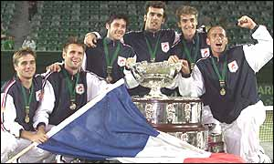 France with the Davis Cup trophy