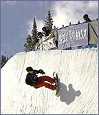 Jarret Thomas of the USA riding a half-pipe