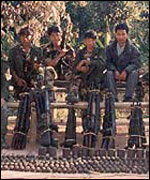 Naga rebels on the Assam-Nagaland border
