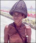 An aborigine man on Taiwan's Lanyu island wearing the Dao tribe's