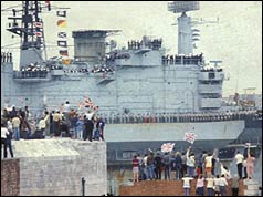 Photo of HMS Hermes docking at Portsmouth