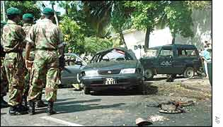 Scene of suicide blast in Colombo in July 1999