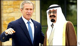 President Bush with Saudi Crown Prince Abdullah