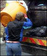 Dustman with bin   BBC
