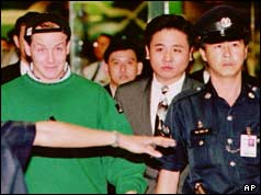 Nick Leeson with police in Singapore