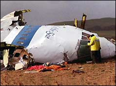 Wreckage of Pan Am jet in field in Lockerbie, Scotland