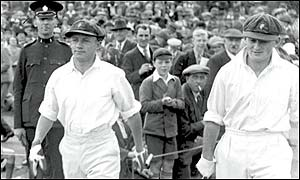 Don Bradman walks out to bat against England