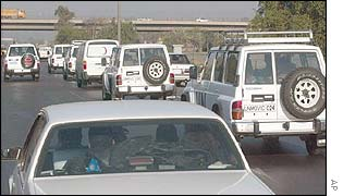 A convoy of UN vehicles leave Baghdad