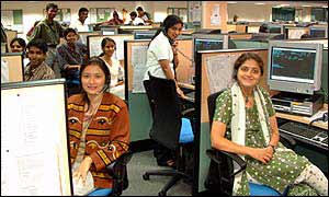 Staff in ICICI OneSource call centre in India