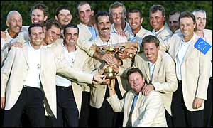 Europe's Ryder Cup team celebrate their success