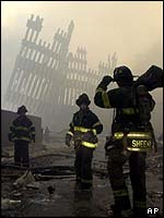 Ruins of World Trade Center in New York