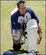 Michael Vaughan puts on his pads at the Waca