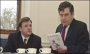 Ed Balls, treasury adviser, with Gordon Brown