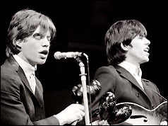 Mick Jagger (left) and Keith Richards performing in April 1964