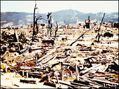 Hiroshima after nuclear bomb attack