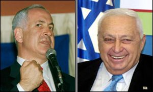 Binyamin Netanyahu and Ariel Sharon