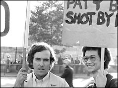 Peter Hain (l) at anti-apartheid rally in London, 1973