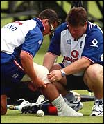 Darren Gough receives treatment
