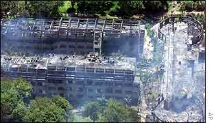 Aerial view of the Paradise Hotel after bombing