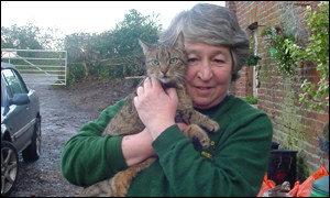The cat and Sheila Stewart