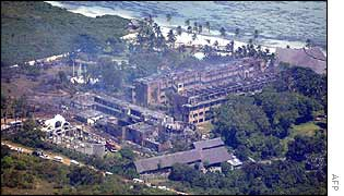 Aerial view of smouldering hotel buildings