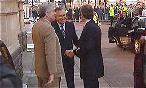 Tony Blair is greeted by Rhodri Morgan and Peter Hain