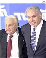 Ariel Sharon (left) and Binyamin Netanyahu