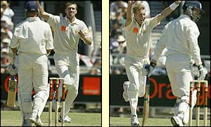 Glenn McGrath dismisses Alec Stewart and Brett Lee claims the wicket of Craig White