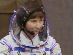 Helen Sharman in a space suit
