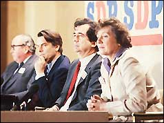 The 'gang of four' - (from left) Roy Jenkins, David Owen, Bill Rodgers, Shirley Williams