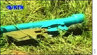 Kenyan TV pictures of the missile launcher