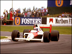 McLaren Honda of Alain Prost, during the British Grand Prix at Silverstone in 1989