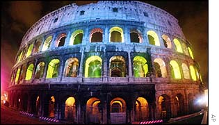 The Colosseum lit up after an execution order is overturned