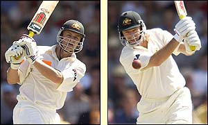 Adam Gilchrist and Steve Waugh in action on day two at the Waca