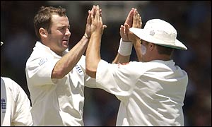 Craig White celebrates taking the wicket of Ricky Ponting on his way to taking 5-126