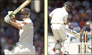 Ricky Ponting is bowled out by England's Craig White