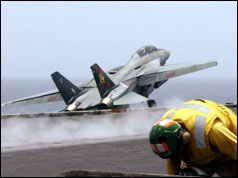 F-14 Tomcat launching from a US aircraft carrier
