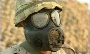 A soldier wearing a gas mask during the Gulf War