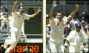 Jason Gillespie celebrates the wicket of England night watchman Richard Dawson and soon after Glenn McGrath bowls Mark Butcher