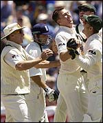 Australia celebrate the run-out of Vaughan