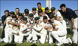 The Australian team poses for the cameras after retaining the Ashes