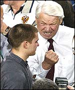 Boris Yeltsin (right) is delighted by Russia's victory