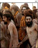Naked holy men or 'Sadhus' at the site of the Saraswati