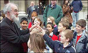 The new Archbishop meets children outside St Paul's Cathedral