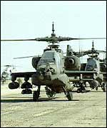 US army helicopters in the Saudi Arabia during the Gulf War, 1991