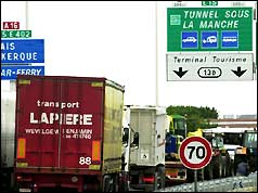 French lorries blockading Calais
