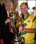 Steve Waugh holds a trophy