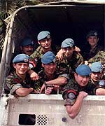 Fusiliers who were Serb hostages after their release