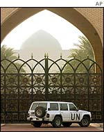 UN vehicle outside the Sijood palace