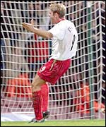 James Beattie celebrates his winner against West Ham